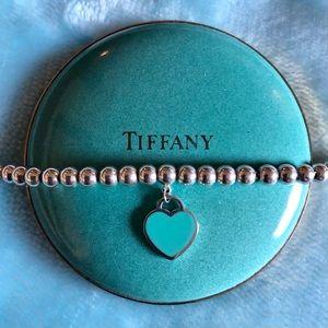Tiffany 925 Blue Heart Tag Bead Bracelet